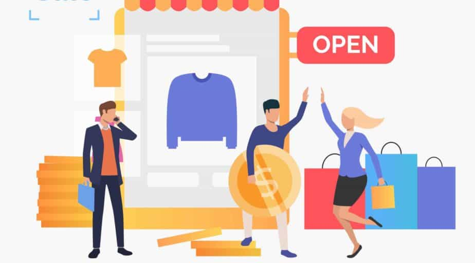 Happy people buying clothes in online shop